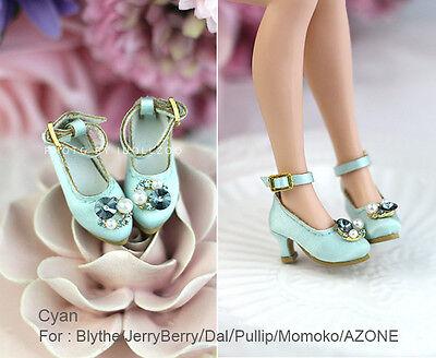 Retro gem heels shoes_CYAN Blythe / DAL / Pullip / Momoko/AZONE