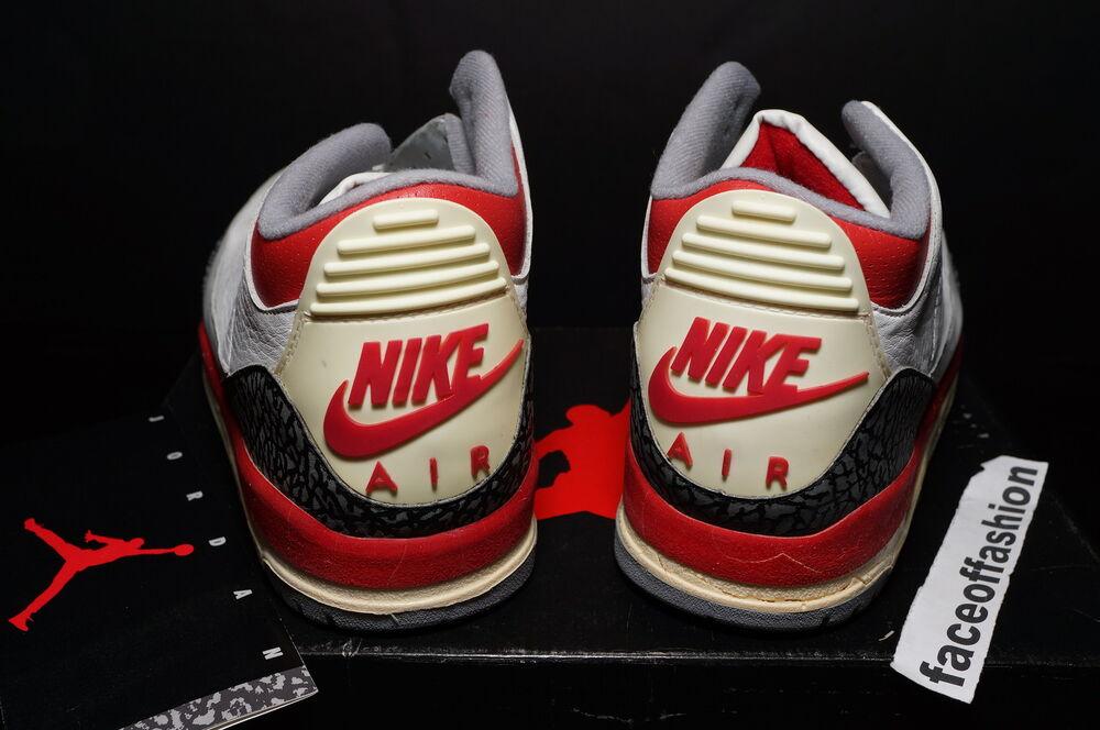 NIKE 1988 AIR JORDAN III 3 blanc FIRE rouge ORIGINAL xi OG iv RARE UNWORN COMPLETE