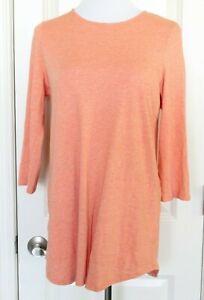 Pure-J-Jill-Crew-Neck-Shirttail-Tunic-Top-Shirt-Orange-3-4-Sleeve-Pockets-Sz-M