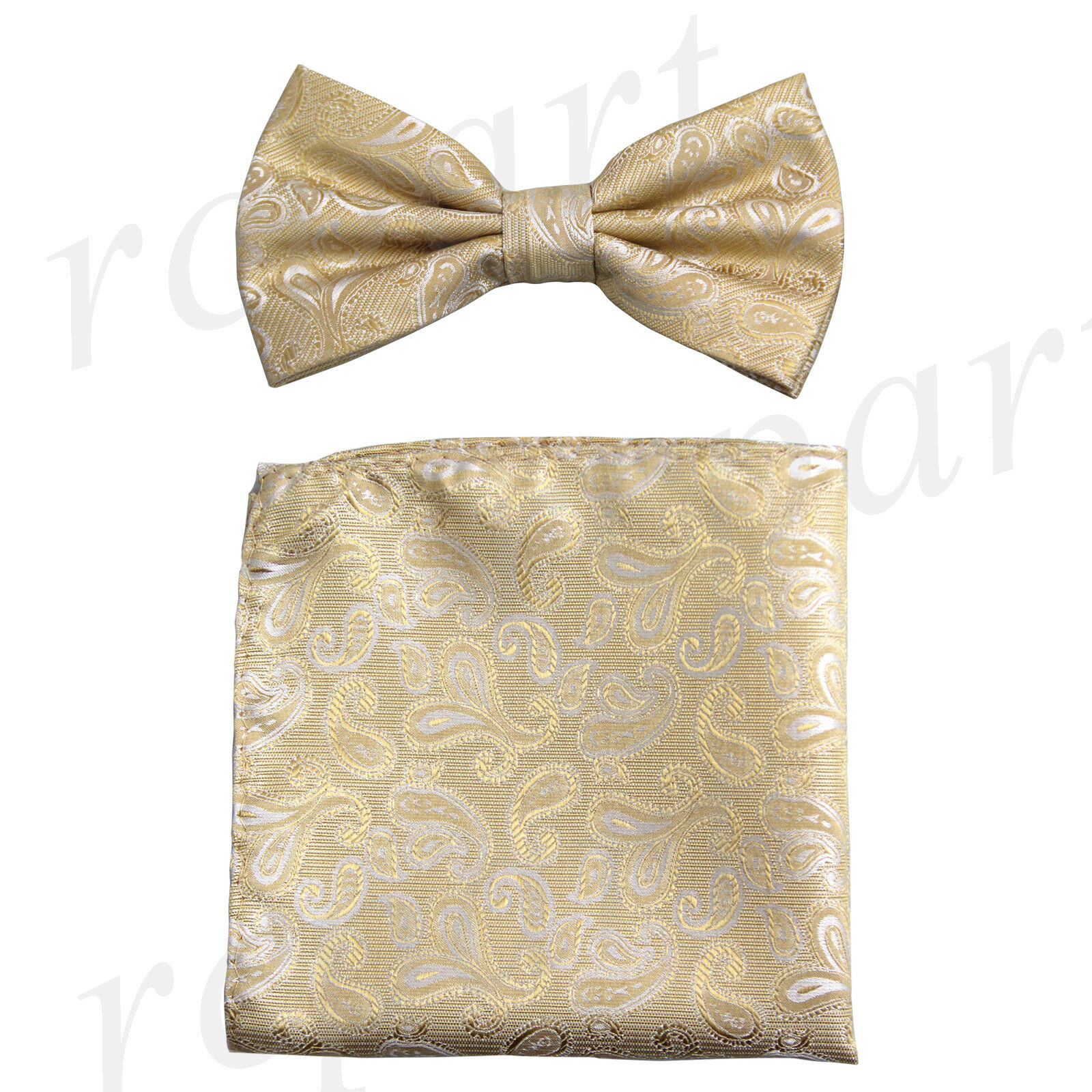 New Brand Q formal Men's Pre-tied Bow Tie & Hankie beige paisley wedding