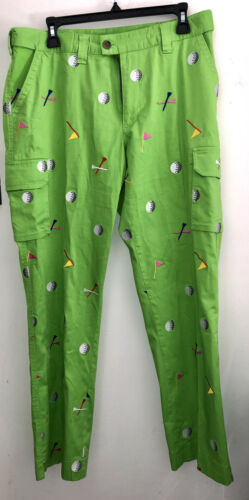 Loudmouth Green golf Pants With Golf Balls Size 35