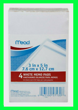 Mead Memo Pad 4 Pack 3 X 5 White Scratch 50 Sheets Each Dispenser Type Paper