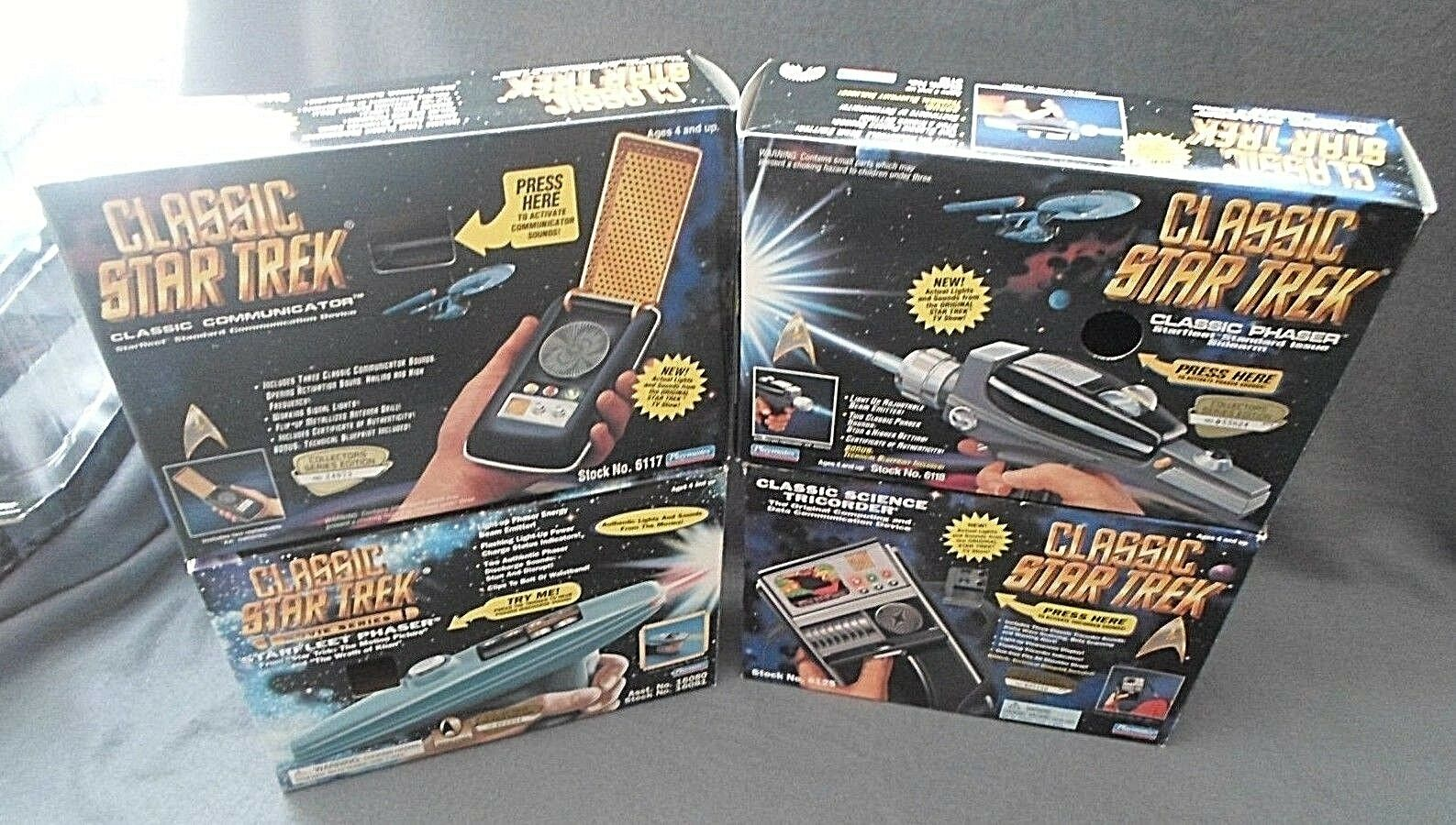 Playmates Star Trek Lot of 4 Phaser Tricorder Coummunicator Movie Phaser Cosplay