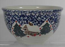 "TIENSHAN STONEWARE FOLKCRAFT CABIN IN THE SNOW 10.75"" LARGE MIXING BOWL EUC"