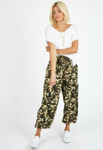 Womens Ladies Camo Print Tie Front Trousers