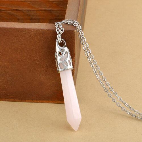 Natural Gemstones Hexagonal Pointed Reiki Chakra Silver Pendant Long Necklace