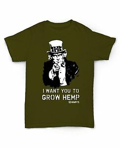 Hempy-039-s-Brand-USA-made-60-HEMP-40-Organic-Cotton-Uncle-Sam-T-shirt-GROW-green