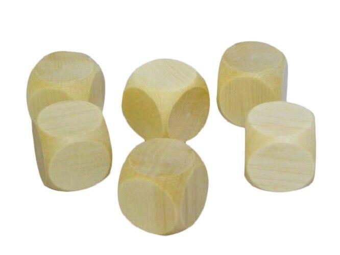 500 en bois Plain Dice Dés Cube Cubes Blank Plain non peinte bois Six Face 20 mm