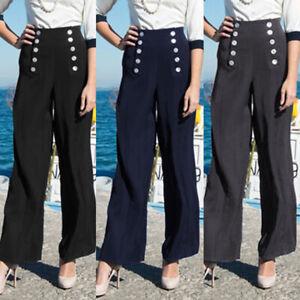 Women-High-Waist-Plain-Baggy-Wide-Leg-Flare-Ladies-Trousers-Pants-Plus-Size-8-26