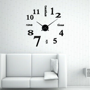 3D Acrylic Mirror Surface Wall Sticker Clock Modern Home DIY Decor M5BD