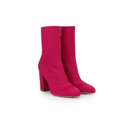 New In Box Womens Sam Edelman CALEXA Hot Pink Stretch Sock Booties