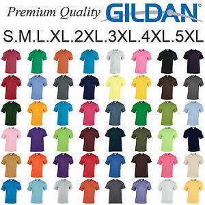 Gildan-T-SHIRT-blank-plain-tee-S-5XL-Small-Big-Men-039-s-Cotton-Premium-Quality