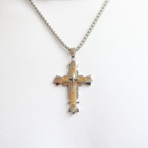 Homme Grand acier inoxydable couche argent or croix crucifix pendentif chaîne Collier