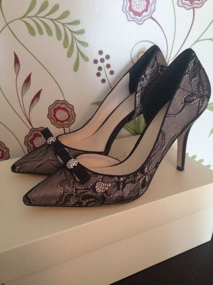 No 1 Jenny Packham Diamanté Bow Lily Heel Lace High Heel Lily Courts 6 Uk 40 Euro 895cf7