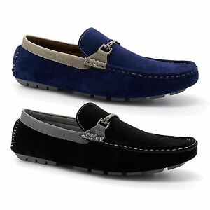 mens new faux suede leather moccasin loafers driving