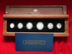 AUSTRALIA-2009-Fine-Silver-Proof-Set-6-Coins-in-Timber-Case-CoA-1902