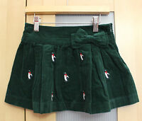 Hartstrings Penguin Embroidered Corduroy Holiday Skirt Girls' Size 4-12