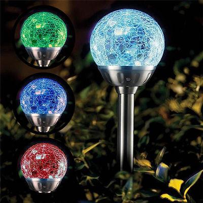 4x Colore Alimentazio Solare Modifica Vetro Crystal Ball Giardino Percorso Gioco Luci- Fabbricazione Abile