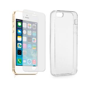 Dettagli su Pellicola in vetro e cover in silicone slim per APPLE IPHONE 5 5S SE
