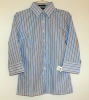 Striped Wrinkle Free 3/4 Sleeve Button Down Shirt Sz 00p - 4 - Lands' End -
