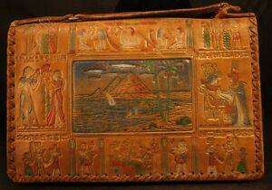 Vintage Handmade Leather Egyptian Purse Etched Design W/Color Rare-37T!