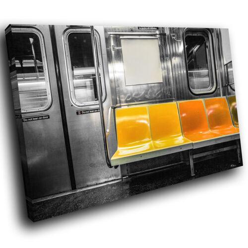 SC1031 yellow new york subway bench Landscape Canvas  Art Large Picture Prints