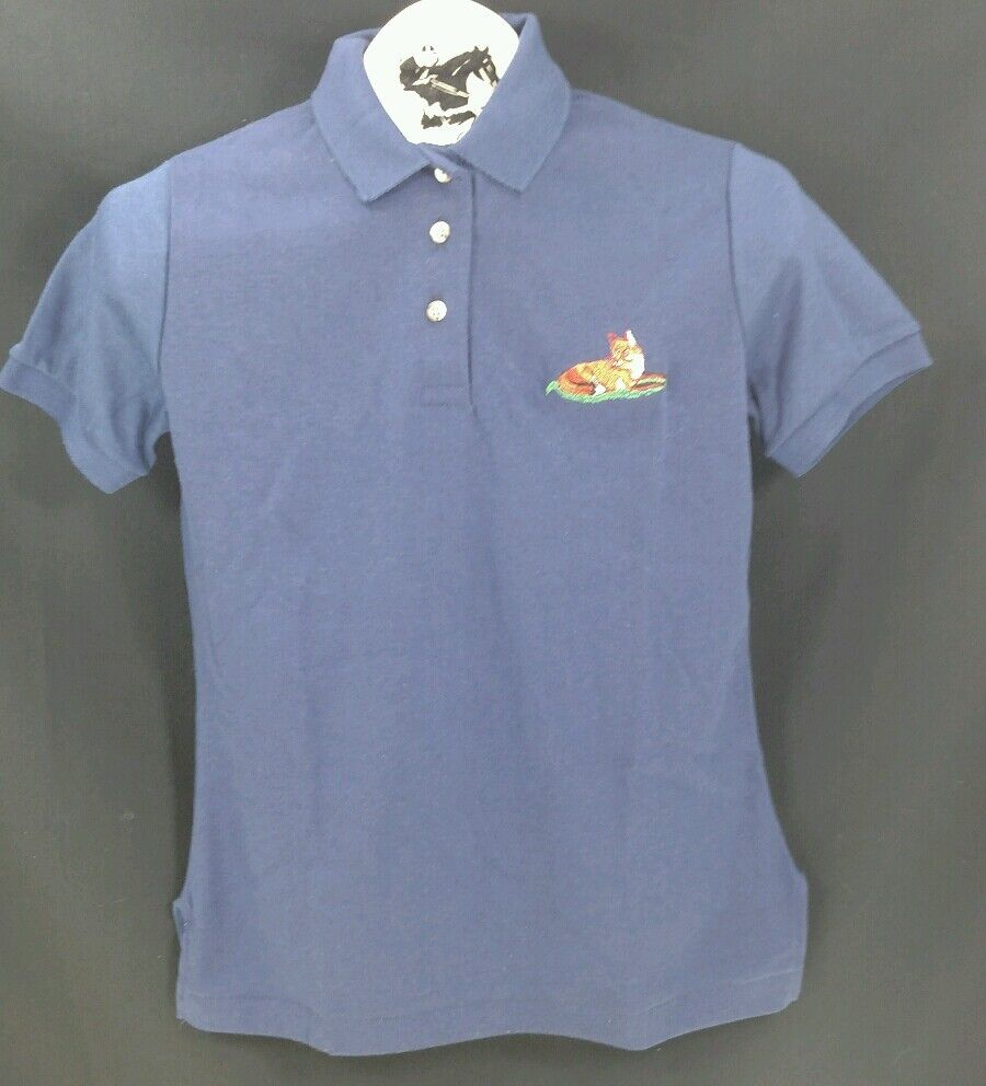 Reed Hill Polo Shirt Navy Juniors Large Fox Design
