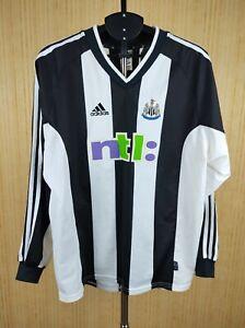 Newcastle United Shirt Jersey Long Sleeve 2000 2001 Home Football Soccer Adidas