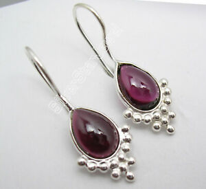 7-x-10-mm-Genuine-Jewelry-925-Sterling-Silver-RED-GARNET-Dangle-Earrings-1-1-034