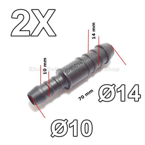 2X 10mm to 14mm Gerade Reduzierer Schlauchverbinder für Luft Kraftstoff Wasser