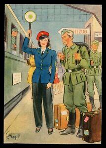 WW2-WWII-Germany-3rd-Reich-Postcard-German-Cover-Hitler-Women-War-Aid-1943-Mint