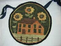 Sunflowers House Hooked Chair Pad 14 1/2 French Country Teresa Kogurt Sale