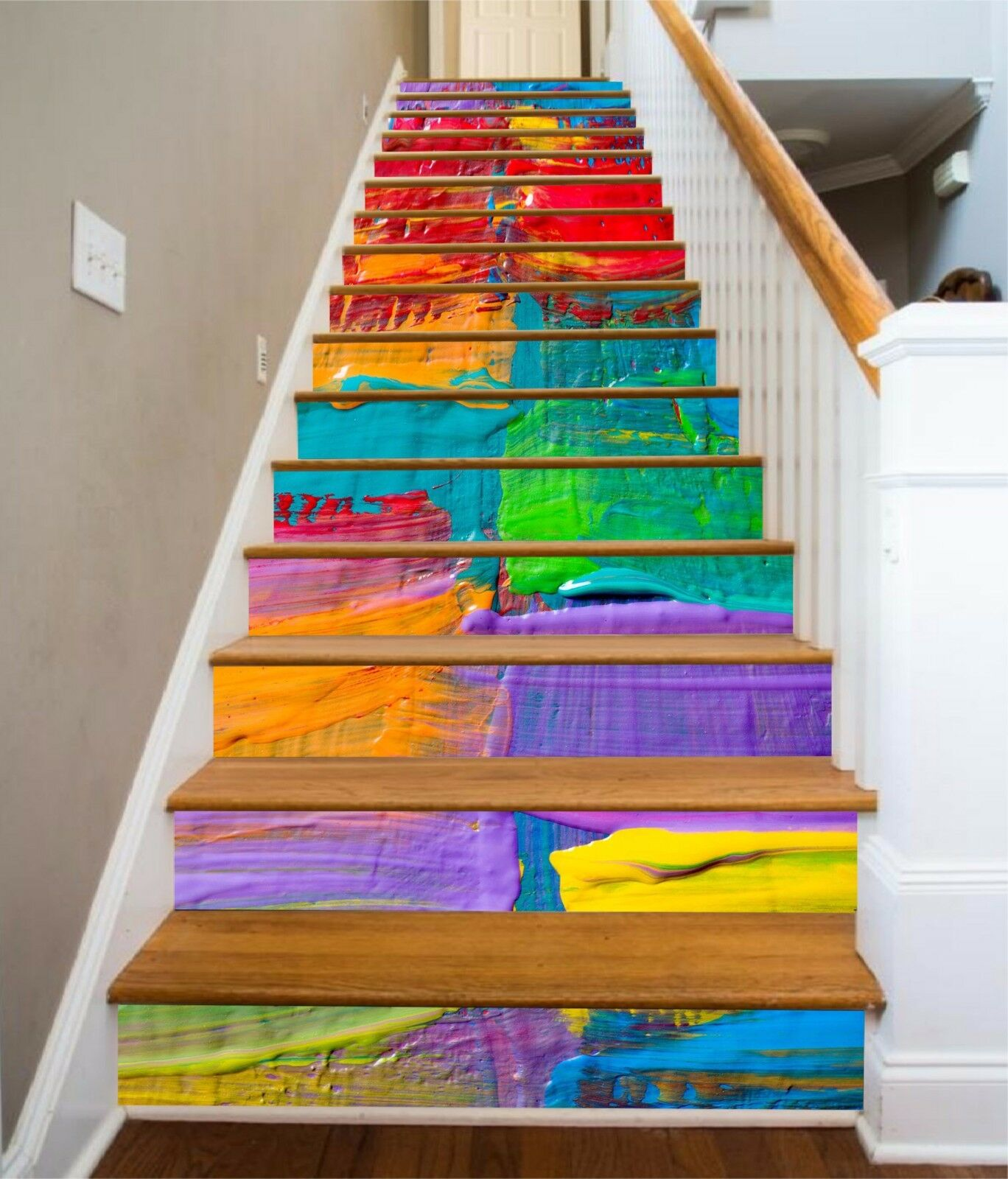 3D Couleur Painting 3 Stair Risers Decoration Photo Mural Vinyl Decal Wallpaper AU
