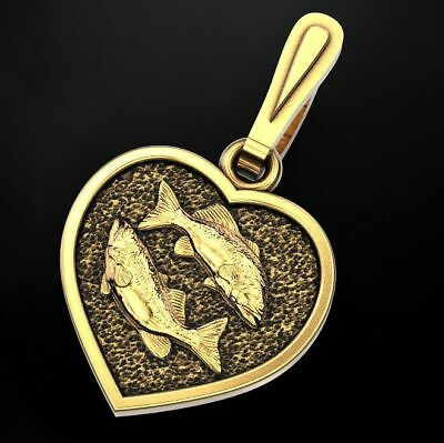 10k or 14k Solid Yellow Gold Pisces Zodiac Charm Pendant