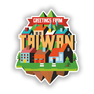 2 x Taiwan Vinyl Stickers Travel Luggage #10431
