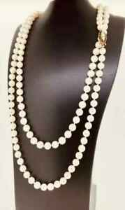 Vintage-Long-Garnets-amp-Cultured-Pearls-Double-Chain-Necklace-14k-White-Gold-Over