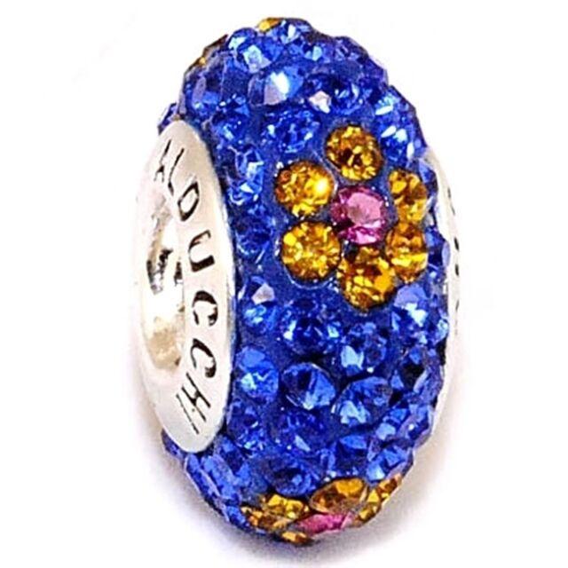 Alducchi Sapphire Blue-Citrine Flower Crystal .925 Silver European Charm Bead