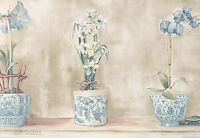 Blue Orchid Lily Iris Floral Japanese Pottery Vase 14 15 Wallpaper Wall Border