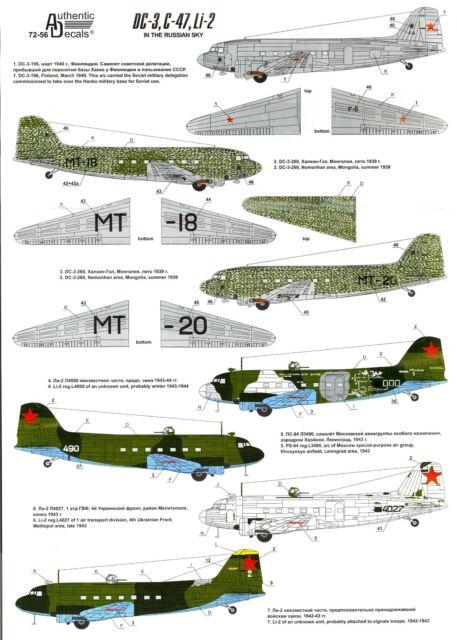 Authentic Decals 1/72 DOUGLAS C-47 (DC-3) & LISUNOV Li-2 In the Russian Sky