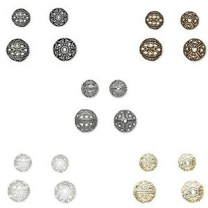Lot-of-100-Fancy-Cut-Out-Filigree-Round-Spacer-Beads-Plated-Over-Brass-Metal