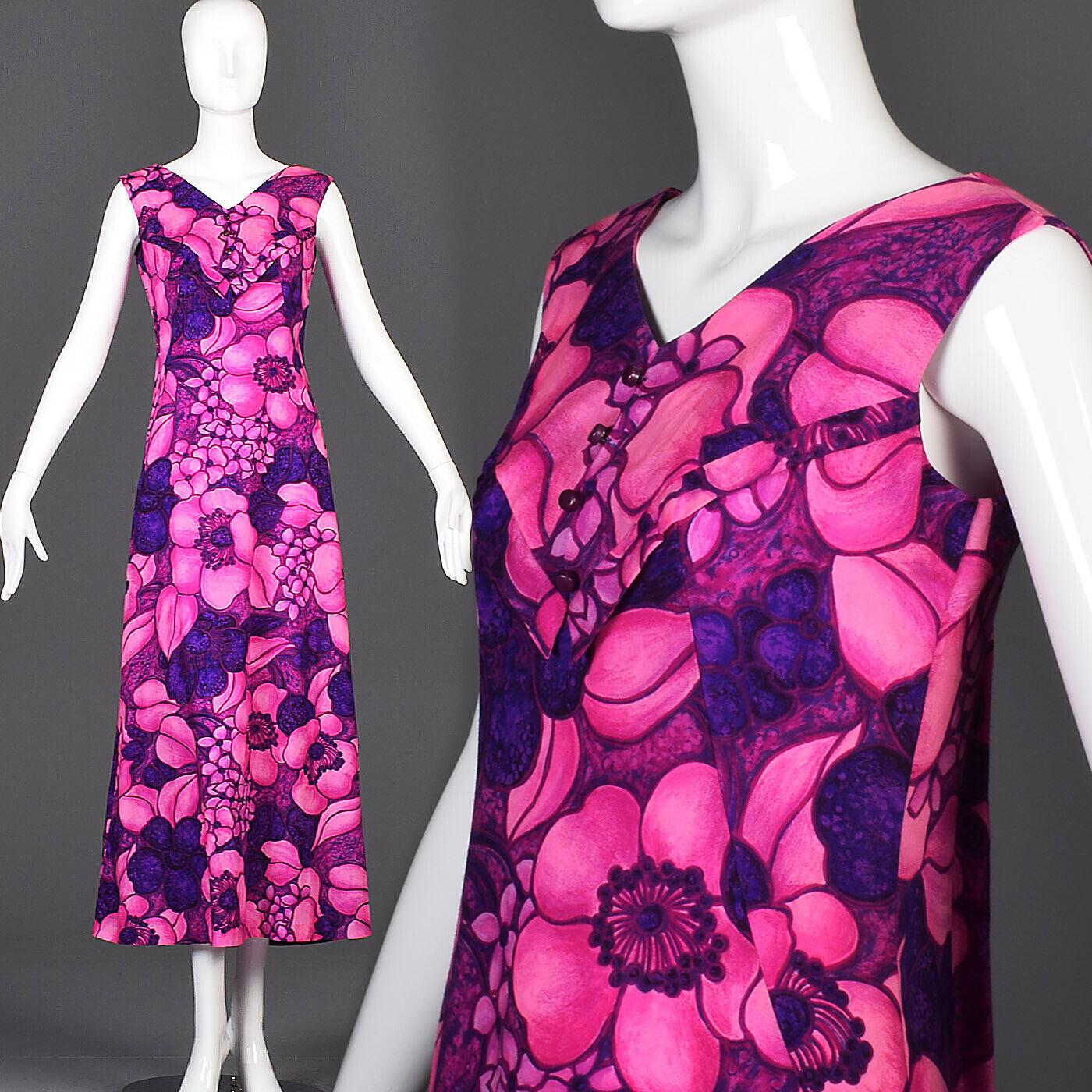 S 1960s Floral Print Miss Hawaii Maxi Dress Lightweight Casual Luau 60s VTG