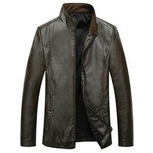 Collar Leather 8xl Zsell Stand esterno Jacket Mens Zip Cappotti L Faux Overcoat q10IxI