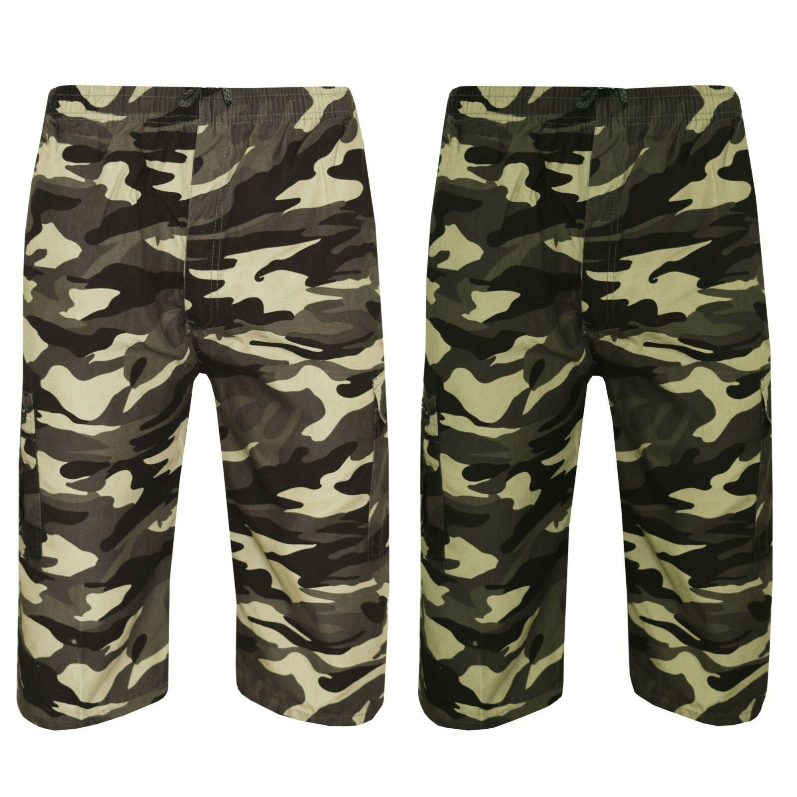 Hombre Ejército 3 4 Cintura Elástica Bermudas Militar Cargo Bolsillos Camuflaje