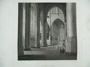 Gravur-Ein-Innen-Kirchen-Graviert-Von-Sellier-Museum-Des-Louvre-Hermet