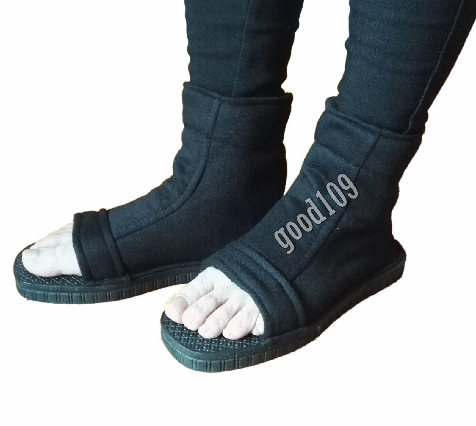 Cafiona NARUTO Uchiha Sasuke Cosplay Shoes Black Ninja Version Boots Halloween