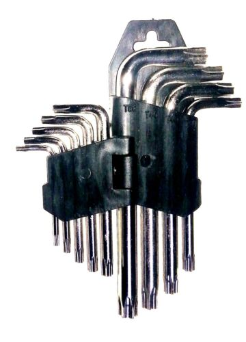 9 tlg TORX Winkel Schraubendreher Satz T10 - T50 Winkelschlüssel Torxschlüssel
