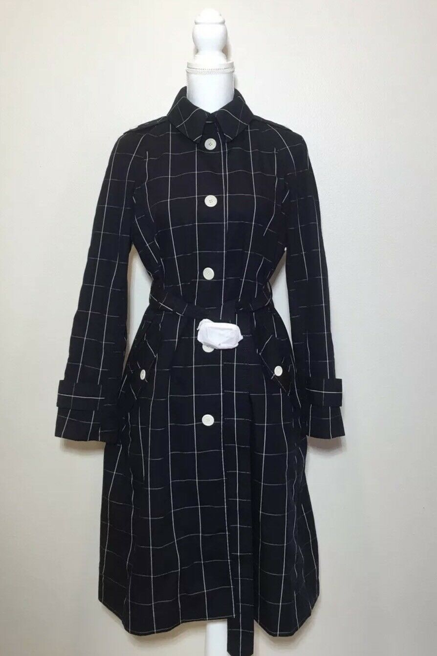 JCrew  Collection Trench Coat in Windowpane Sz 6 Navy bluee Cream G2383 New