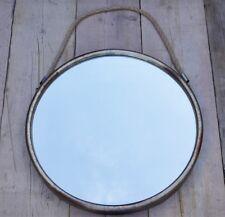 GRANDE Argento effetto invecchiato in Metallo Tondo Specchio Parete Corda Da Appendere Vintage Nautico BN