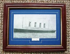 FRAMED SMALL PRINT TAKEN FROM AN ORIGINAL ANTIQUE PRINT OF  STEAMER RMS TITANIC
