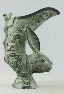 Collectibles Old Decorated Handwork Bronze Carve Rabbit Gecko statue Noble Vase